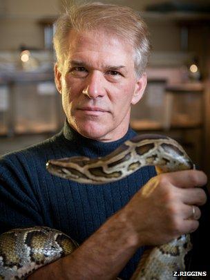 man with python