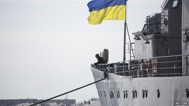 Ukrainian navy command ship Slavutych at Sevastopol, 18 March