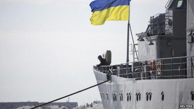 Ukrainian navy command ship Slavutych at Sevastopol, 18 March