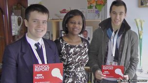School Reporters Alex and Callum and Liliane, a Rwandan genocide survivor