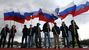 Pro-Kremlin activists rally in the southern Russian city of Rostov-on-Don
