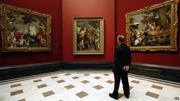Three works by Paolo Veronese (left to right) Unfaithfulness, Mars and Venus United by Love, and Scorn, during a press preview for the Veronese: Magnificence in Renaissance Venice exhibition at the National Gallery