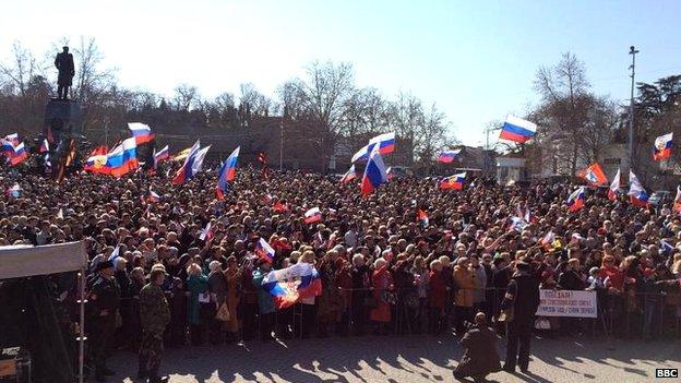 Pro-Russia supporters in Sevastopol, Russia, 18 March