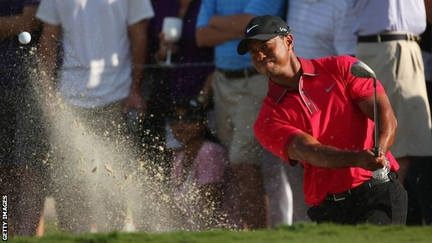 Tiger Woods in action on 9 March