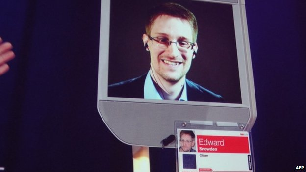 Former NSA contractor Edward Snowden appears by remote-controlled robot at a TED conference in Vancouver on 18 March 2014
