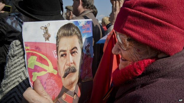 Poster of Stalin at rally in Sevastopol. 18 March 2014