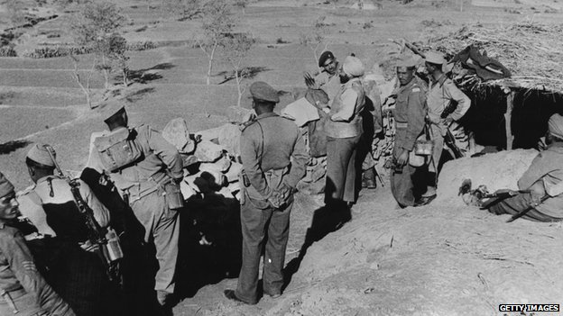 Indian soldiers facing Chinese troops during the 1962 conflict