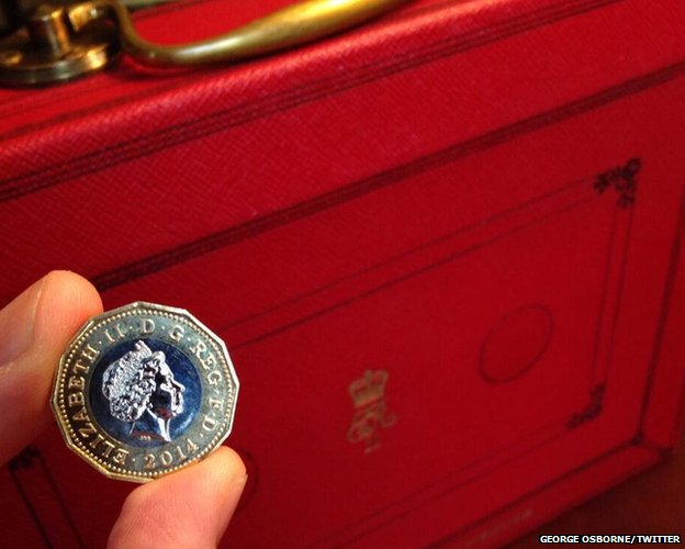 "George Osborne tweeted this picture, captioned: ""I will deliver a Budget for a resilient economy - starting with a resilient pound coin"""