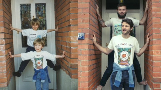 Brothers recreate childhood photos in calendar for mum