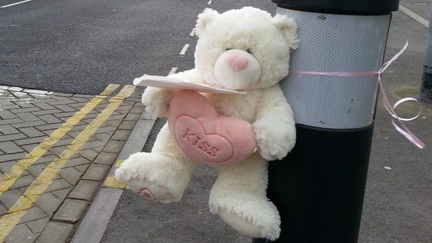 Teddy bear left on Blair Parade in tribute