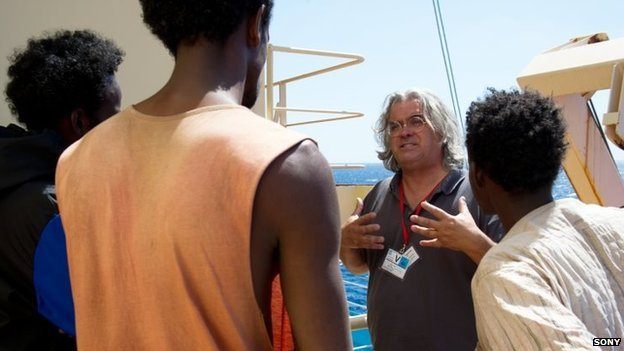 Paul Greengrass on the set of Captain Phillips