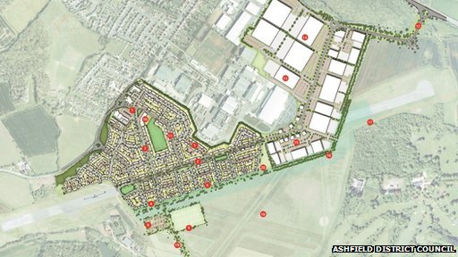 Site plan of the development in Hucknall