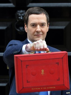 George Osborne with the red Budget box