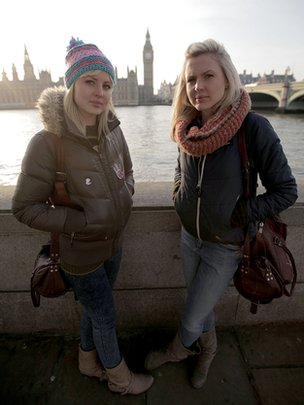 By the Houses of Parliament. Kris and Maren Hallenga