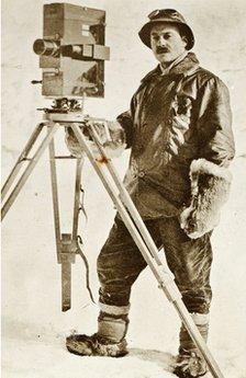 Herbert Ponting with camera