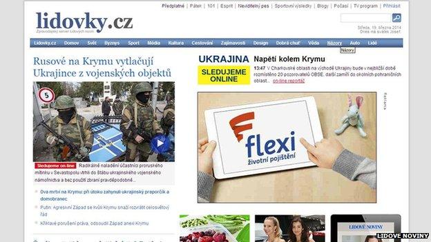 Screengrab from Czech newspaper Lidove Noviny