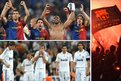 Barcelona's players celebrate; Real's are left stunned; Barca fans go wild in the Bernabeu