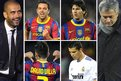 Barca coach Pep Guardiola celebrates along with Xavi, Lionel Messi and David Villa, but it was a bad night for Cristiano Ronaldo and Jose Mourinho