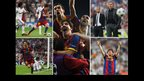 Lionel Messi dribbling; Barcelona celebrate; Jose Mourinho looks on; Messi celebrates; Messi celebrates again