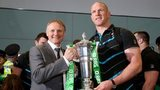 Ireland coach Joe Schmidt and captain Paul O'Connell with the Six Nations trophy