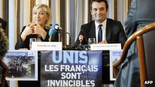 FN leader Marine Le Pen with Florian Philippot in Forbach