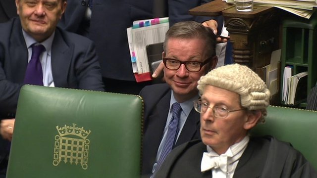 Michael Gove during the Budget speeches