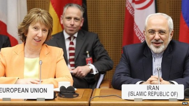 Catherine Ashton and Mohammad Javad Zarif in Vienna (19 March 2014)