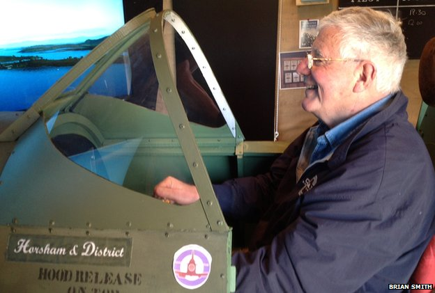 Brian Smith in his Spitfire simulator