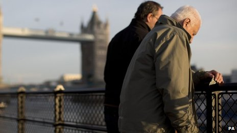 Two men looking at the River Thames