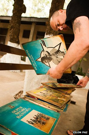 Frank Gossner looking at records