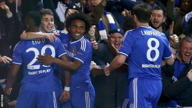 Chelsea's Samuel Eto'o (left) celebrates scoring against Galatasaray with team-mates