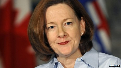 Alberta Premier Alison Redford appeared in Edmonton, Alberta, on 19 March 2014