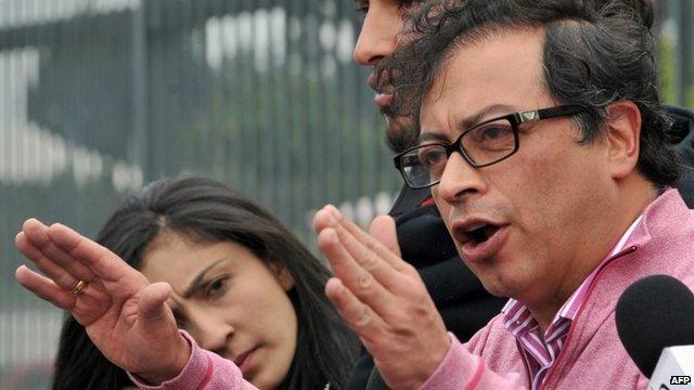 Bogota's Mayor Gustavo Petro speaking in Bogota, on March 4, 2014