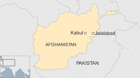 A map showing the city of Jalalabad in the east of Afghanistan