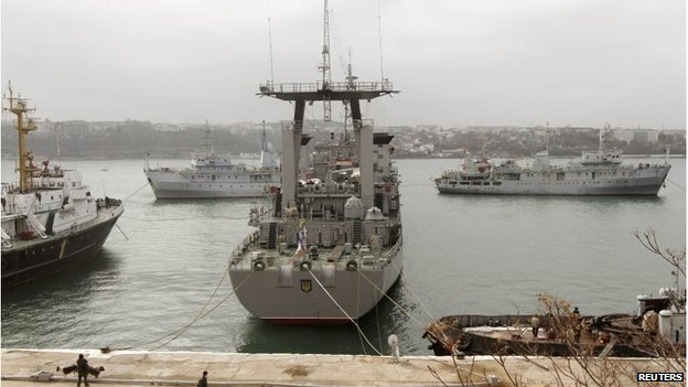 Ukrainian ship Slavutich (C) is seen blocked by two Russian ships at the harbour in Sevastopol, Crimea (20 Mar 2014)
