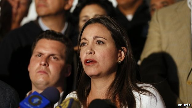 Opposition deputy Maria Corina Machado speaks during news conference in Caracas on 18 March, 2014