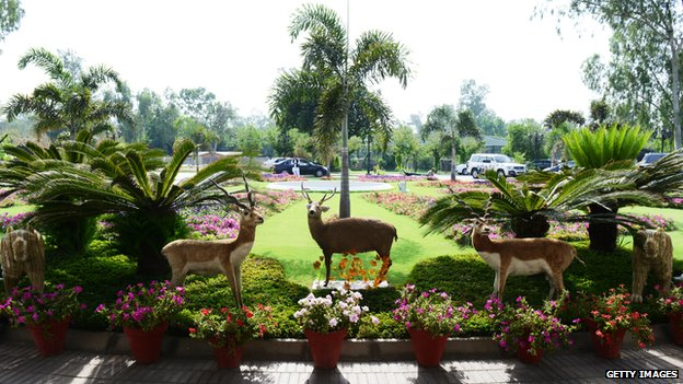 Stuffed game animals line the driveway of Pakistani Prfime Minister Mian Nawaz Sharif's residence