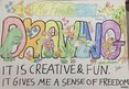 "Drawing with the words: ""My freedom is drawing. It is creative and fun. It gives me a sense of freedom."""