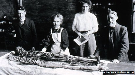 Egyptologist Margaret Murray, front centre, supervised the unwrapping in front of an audience of 500 people in Manchester in 1908