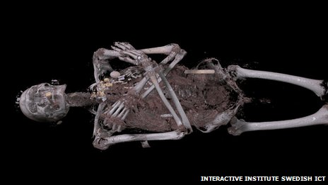 Visitors can strip Neswaiu down to the tissue and bones and reveal the array of amulets which were placed on the body