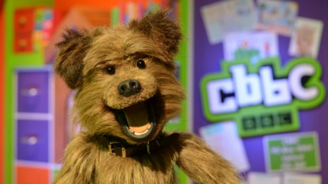 Hacker the Dog looking cute in the CBBC studio