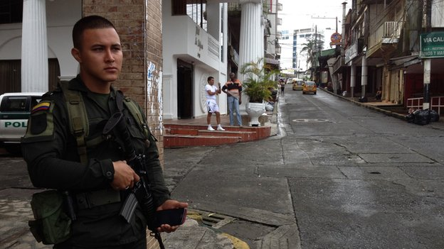 Policeman on patrol in Buenaventura