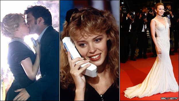 Kylie in Doctor Who (2007), taking phone calls on Going Live (1988) and at the Cannes Film Festival (2013)