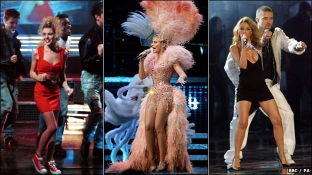 Kylie on Top Of The Pops (1988), the Showgirl Homecoming tour (2005) and with Justin Timberlake at the Brit Awards (2003)