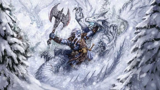 Illustration of warrior fighting dragons in snow
