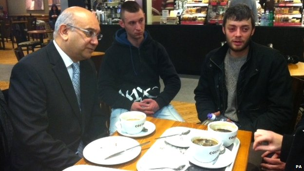 Keith Vaz meets arrivals at Luton Airport