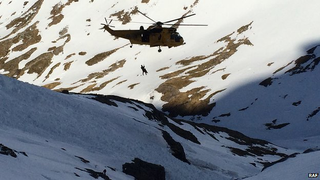 RAF helicopter airlifts Paulo Grobel