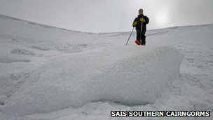 Block of avalanche debris in Southern Cairngorms