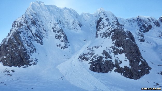 Avalanche debris in Observatory Gully on Ben Nevis