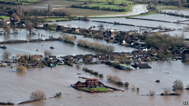 Somerset village of Moorland, February 2014